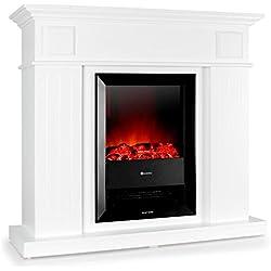 Klarstein Chamonix • Chimenea eléctrica • Chimenea virtual • Simulación de llamas • 2 Grados rendimiento: 1000 W ó 2000 W • no se necesita montar • discreto panel de mandos • silenciosa • madera en su interior • Diseño nostalgico • blanco