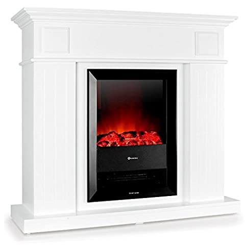 Klarstein Chamonix Cheminée électrique radiateur (flammes crépitantes, radiateur intégré, bois laqué, puissante et silencieuse, 1000 ou 2000 watts) - blanc