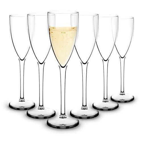 RB Incassable Flûtes à Champagne Polycarbonate Plastique Premium 15cl, Lot de 6