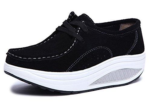 CCZZ Damen Echtleder Plateau Loafers Keilabsatz Schnürer Sneakers Abnehmen Walkingschuhe Winter warm Wedges Freizeitschuhe Shape-up Fitnessschuhe