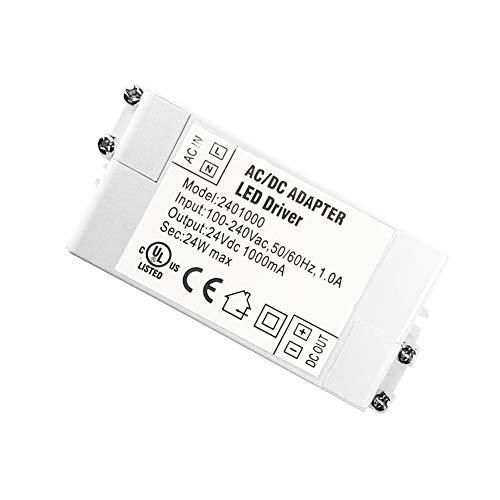 YAYZA! 1-er Pack Premium IP44 24V 1A 24W Niedrige Spannung LED-Treiber Transformer AC DC Schalter Stromversorgung (Dc-led-treiber)