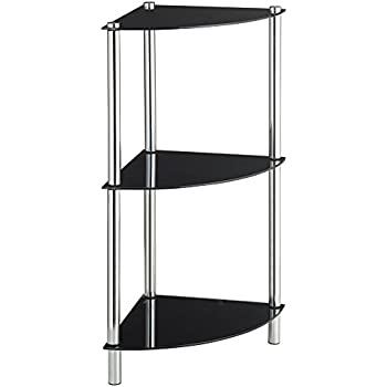 Vonhaus corner table for living room small 3 tier unit - Glass corner shelf for living room ...