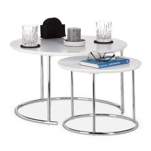 Relaxdays Beistelltisch 2er Set rund, Kleiner Couchtisch matt, Satztisch Holz und Metall, verchromt, 60x60 cm, weiß