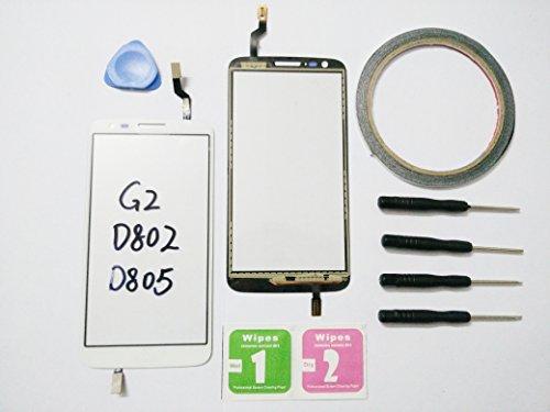 JRLinco Für LG G2 D802 D805 Glas ( ohne LCD ) Outer Glas Lens Touch Panel Bildschirm Touchscreen Ersatzteil Für LG G2 D802 D805 Weiß + Werkzeuge & doppelseitigen Kleber + Alkohol Reiniger Paket Lg G2 Lcd Digitizer