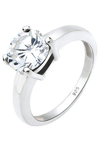 Elli Schmuck Ring Solitär Damen aus 925 Sterling Silber mit Zirkonia Stein in Krappenfassung Ringgröße 52