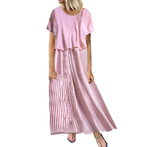 s Kleid Sommer gestreiften O-Ausschnitt Kurzarm Plus Size Casual Dress(Rosa,XXXXXL) ()