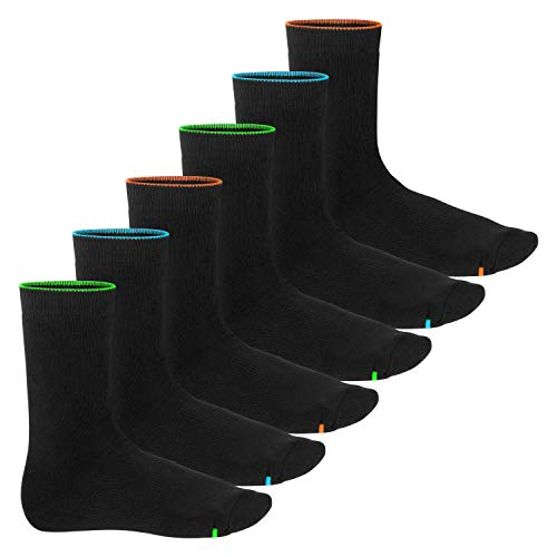 Footstar 6 Paar warme und weiche Neon Glow Vollfrottee Thermo-Socken für Damen und Herren 39-42