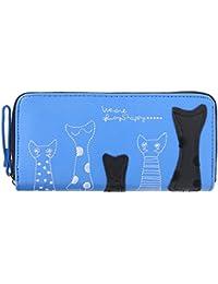 Women Bag,Women Cat Cartoon Long Wallet Card Holder Zip Clutch PU Leather Coin Purse(Blue)
