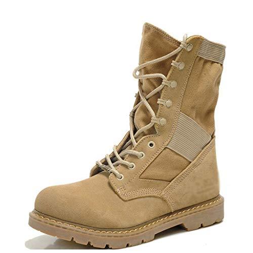 YongBe Herren Spezialeinheiten Wüste Hohe Stiefel Militär Heer Stiefel Kampf Taktisch Stiefel Trekking und Wandern Mann Gehen Arbeit Schnürschuhe,Sand Color- 27CM=EU43=UK9