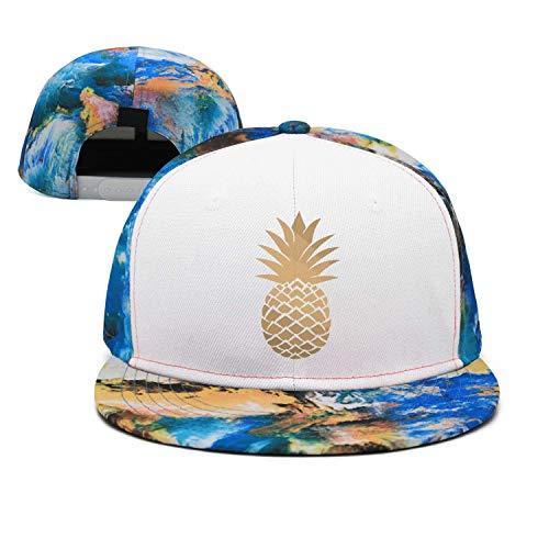 Zhgrong Caps Vintage Dancing Pineapple Snapback Hat Black Sandwich Peaked Cap Black Kappen