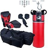 ScSPORTS Grizzlyzone Box-Set, für Kinder und Jugendliche, mit Boxhandschuhen, Boxbandagen, Deckenhaken und Tasche, 5,5 kg, Rot Schwarz