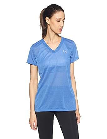 Under Armour Threadborne Train V Point Women's Sports T-Shirt (1289648-437_XS_Mediterranean, Midnight Navy and Steel)