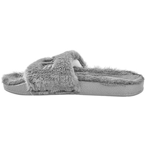 Fashion Thirsty Donna Pelo FERMACAPELLI Passanti Love Pantofole Comfort Ammortizzato Slip On Taglia GRIGIO CHIARO PELLICCIA FINTA
