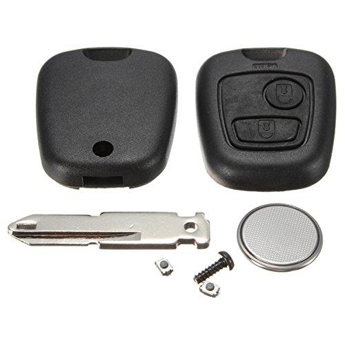 AUDEW Coque Plip Clé Télécommande pour Peugeot 206 +2 Switchs +Pile