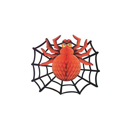 Halloween Grusel Riesige Deko Spinne im Spinnennetz Wabendeko Party Dekoration - 48 cm (Dekoration Riesigen Halloween Spinnennetz)