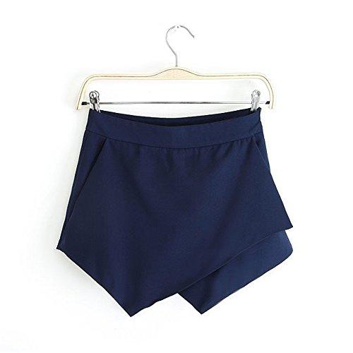 JOTHIN 2017 été Nouvelles Femmes Pile Irrégulière de Short Mini-short en Mousseline de Soie Jupes Pantalons Bleu foncé