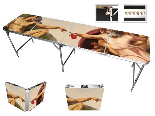Red Cup Pong Klappsessel 8Beer Pong Tisch mit Flaschenöffner, Ball Rack und 6Pong Bälle–Sixtinische Design