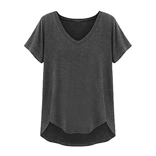 Eleery Damen V-Ausschnitt Solid Baumwolle T-Shirt Dunkel Grau 46 (Beauty-dunklen T-shirt)