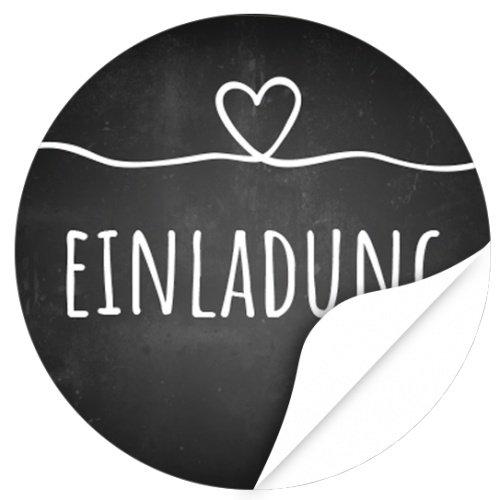 48 Design Etiketten, rund / Einladung mit Herz Kreide Tafel Look / Hochzeit / Liebe / Heirat / Aufkleber / Sticker / für Einladungen / Feiern