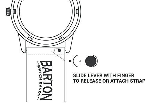 BARTON WATCH BANDS Schnellverschluß. - Top Marke Leder Uhrenarmbänder - Wahl der Farbe und Breite (18mm, 20mm or 22mm) Schwarz Leder und Naht 22mm Uhrenarmbänd