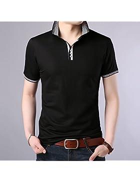 Mei&s Polo de Solapa de Hombre Camiseta de Manga Corta con Cuello en Pico