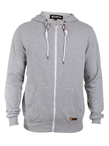 Fleece Zip Hoodie Jacke (riverso Thrio Herren Sweatjacke Zip-Hoodie Jacke mit Kapuze, Gr??e:XXL, Farbe:Light Grey Melange 8242)