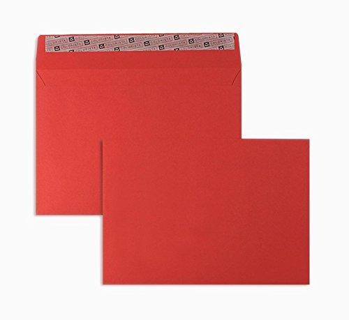 Farbige Briefhüllen | Premium | 162 x 229 mm (DIN C5) Rot (100 Stück) mit Abziehstreifen | Briefhüllen, Kuverts, Couverts, Umschläge mit 2 Jahren Zufriedenheitsgarantie