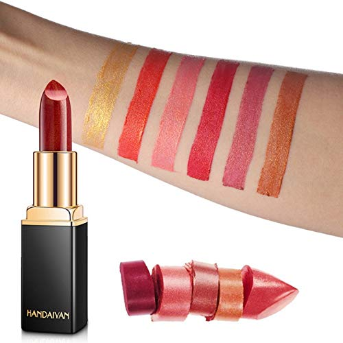 NOTE HANDAIYAN Mermaid Color Shimmer Lipstick Makeup Shiny Temperature Change Color Glitter Lips Metallic Shimmer Liquid Lipgross - Lip Color Shimmer