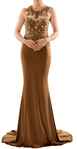 MACloth Women Mermaid Long Lace Jersey Long Prom Dress Formal Party Evening Gown Braun