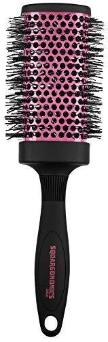 Denman Rund-Haar-Bürste Squargonomics, für schnelles/schonendes Föhnen und Glätten langer Haare, gewellte Nylonborsten, Durchmesser 53 mm, pink -