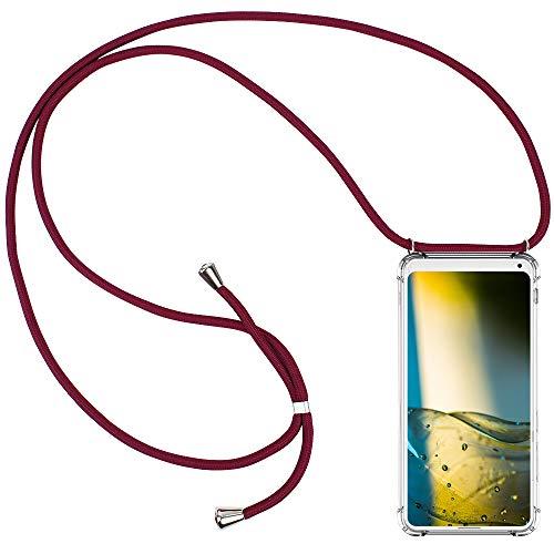 CLM-Tech Carcasa con Cuerda para Colgar Compatible con Xiaomi Mi Mix 2S - Funda Silicona Transparente con Cordon para Llevar en el Cuello, Rojo