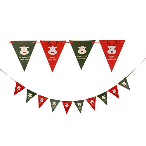 Nette Weihnachtsdreieck-Linie Flag Baby Cartoon Ornamente Burg Papier Banner Banner Flag Dekoration Geburtstagsfeierversorgungen - Multi-Color-Misch