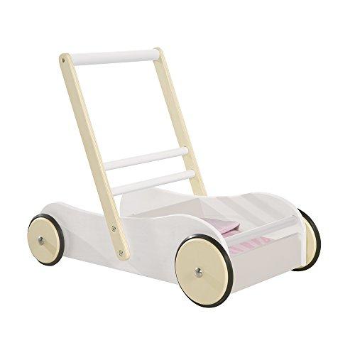 roba 490032984 Lauflernwagen 'Scarlett', Kinderwagen für Puppen. Puppenwagen weiß lackiert mit rosa Textilien