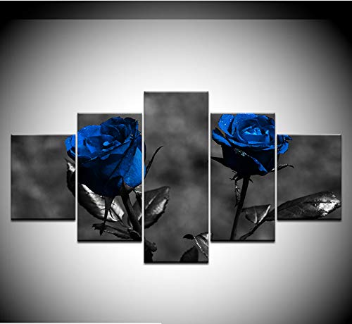 zmnba Kein Rahmen Poster Modular Pictures Canvas 5 Pieces Blue Roses Flowers Paintings Modern Decor for Living Room Wall Home Hd Prints