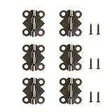 Daimay 40 piezas Latón antiguo Mariposa Mini bisagras Bisagras a tope retro con 160 piezas Tornillos de repuesto para caja de madera Caja de cofre de joyas Gabinete de accesorios de bricolaje  (25 x 20 mm)