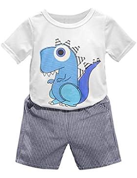 Fossen 2-6 Años Niños Verano Ropa Conjuntos Camiseta Estampada con Dinosaurio Dibujos Animados y Pantalón Corto...