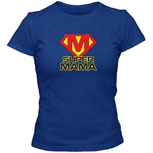 T-Shirt Geschenk Super Mama Muttertag Geburtstag, Blau, M