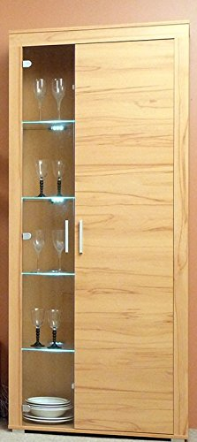 4.4.3.2641: made in BRD - schöne Standvitrine in Kernbuche dekor - Glasvitrine - Vitrinenschrank Kernbuche