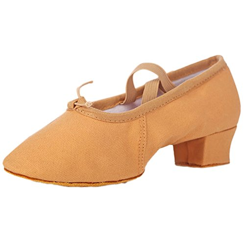 Oasap Women's Round Toe Chunky Heels Canvas Dance Shoes Brown