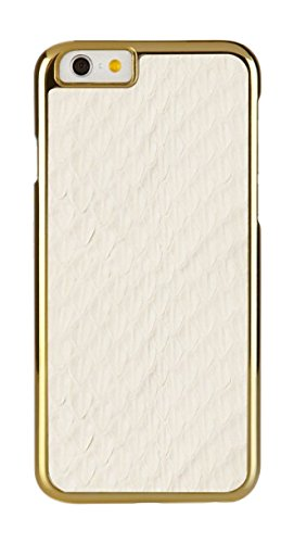 Pipetto iPhone 6 Plus Hülle, Apple iPhone 6 Plus / iPhone 6S Plus Hülle Einschnappendes Cover 14 cm schlank Schwarz Saffiano Weiß/Gold