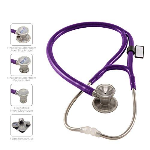 MDF® ProCardial C3, Kardiologie Zweikopf-Stethoskop aus rostfreiem Stahl mit umbaubarem Bruststück für Erwachsene, Kinder, Säuglinge und Neugeborene - Lila (MDF797CC-08)