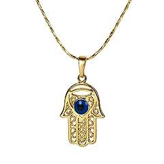 Idea Regalo - Xuping, collana in color oro 18 ct con ciondolo a forma di mano di Fatima. Ideale per donne e come regalo di Halloween per bambini