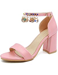 Damen Sandalen Leder, Pumps Sandalen Sommer Plateau Sandaletten mit Blockabsatz Schnalle Slingback Riemchensandalen Gracosy