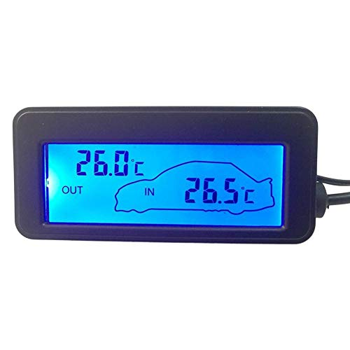 Ruier-hui 12V Digitalthermometer Mini-Thermometer LCD Auto Innen Außenthermometer Auto Auto Innen- / Außenbeleuchtung Digital LCD Display Elektronisches Thermometer Regular