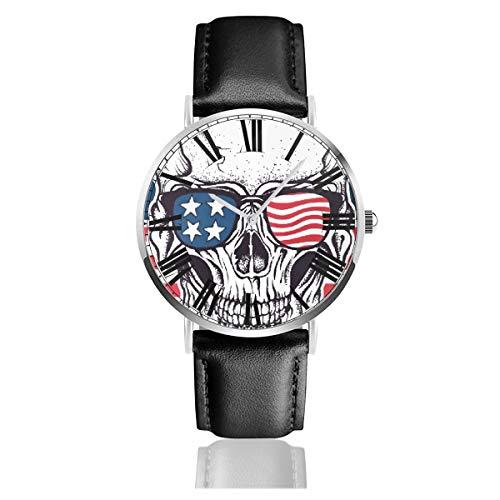 PecoStar USA Flagge mit Totenkopf auf Sonnenbrille Herren Damen Quarz Designer Armbanduhr Analog Display und Lederband - klassisches Design - Dress Watch - wasserdichte Armbanduhr