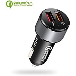 [Qualcomm Certificada] iKits Carga rápida Cargador de Coche Quick Charge 3.0 30W Dual 2-Port USB Adaptador para dispositivos Samsung Galaxy S7, S6, HTC, Sony, iPhone/iPad Phone y Tablet Black