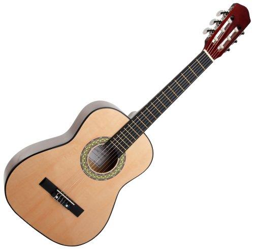 Classic Cantabile AS-851 1/2 Konzertgitarre Natur (Akustikgitarre , geeignet für Kinder im Alter von 6-8 Jahren, Bundmarkierung, Nylonsaiten)