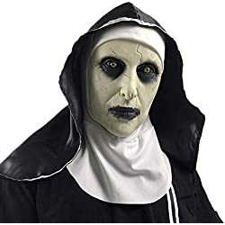 Miminuo Halloween Ghost Festival Horror Nun Mask Sorpresa Fantasma Femenino Mascarilla Nun Cosplay Máscara Lateral Scary Full Head