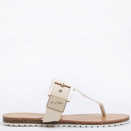 414d4beb75b0b1 Ideal Shoes – Barfuß mit Lochkoppel Veronica Beige Beige -ananda ...