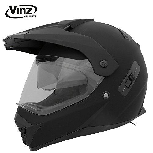 Vinz Motorradhelm, Motocrosshelm Crosshelm mattschwarz in Gr. S-XL | Helm mit Visier und Sonnenblende | ECE zertifiziert (L)